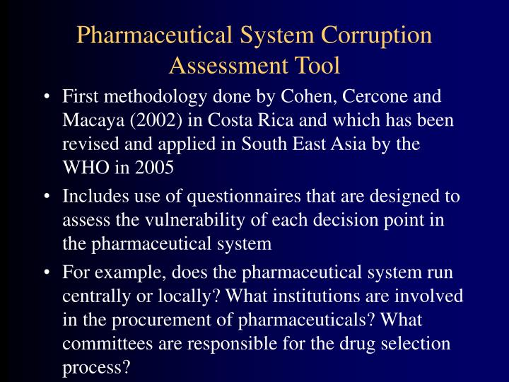 Pharmaceutical System Corruption Assessment Tool