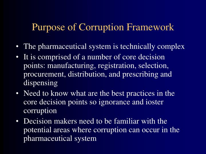 Purpose of Corruption Framework