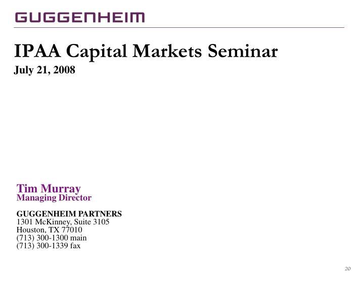 IPAA Capital Markets Seminar