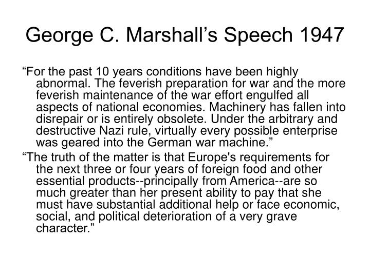 George C. Marshall's Speech 1947