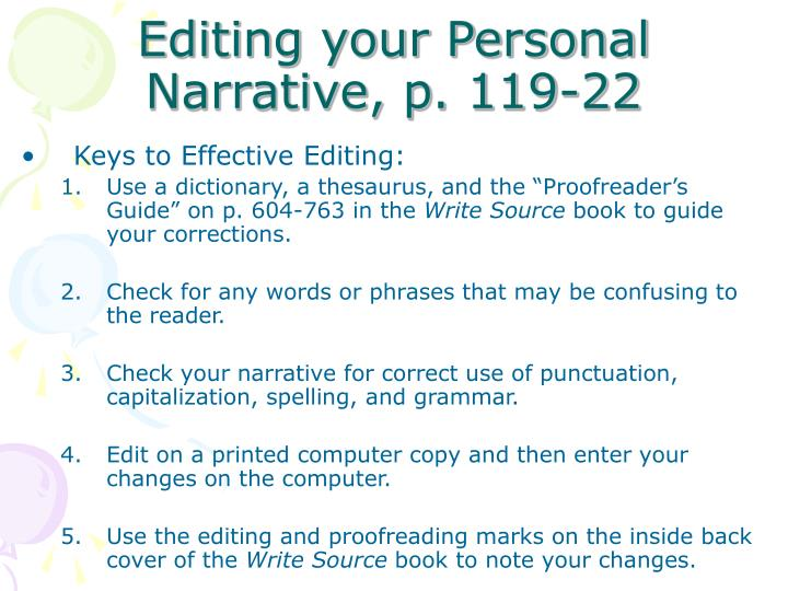 Editing your Personal Narrative, p. 119-22