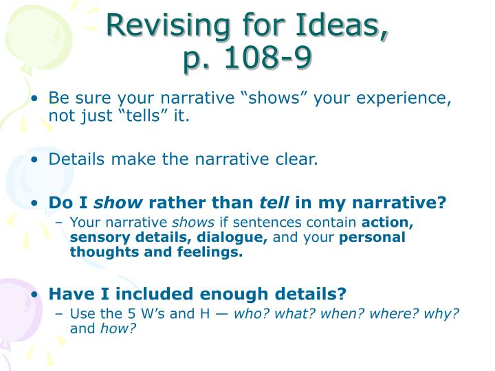 Revising for Ideas,            p. 108-9