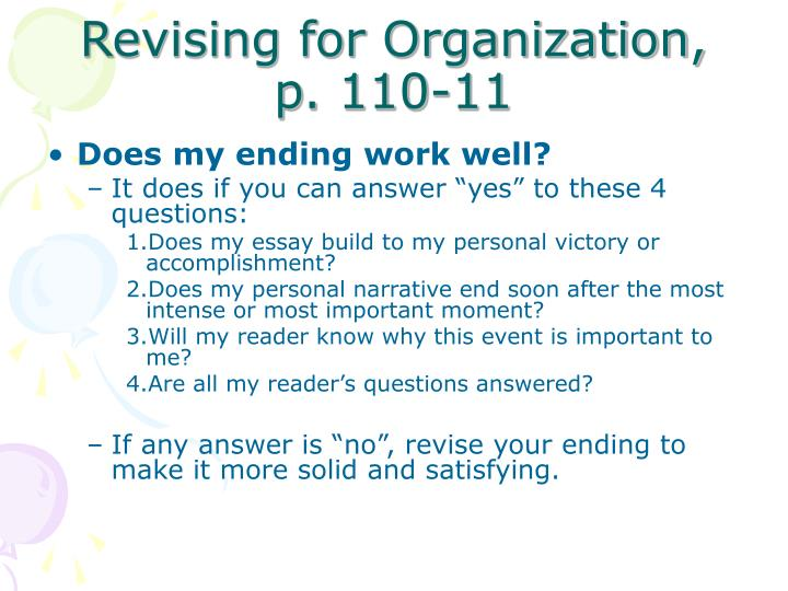 Revising for Organization,  p. 110-11