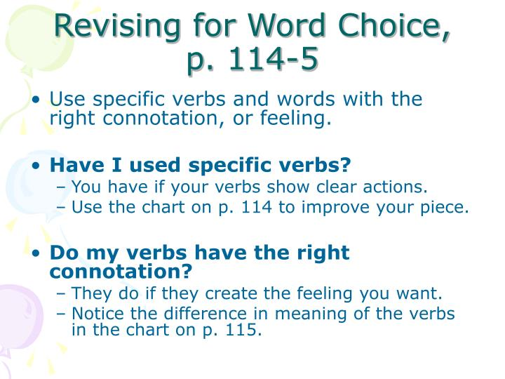 Revising for Word Choice,