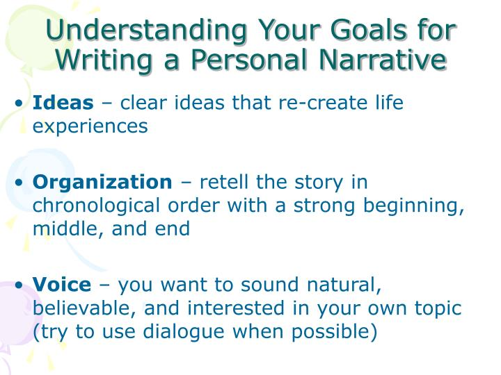 Understanding Your Goals for Writing a Personal Narrative