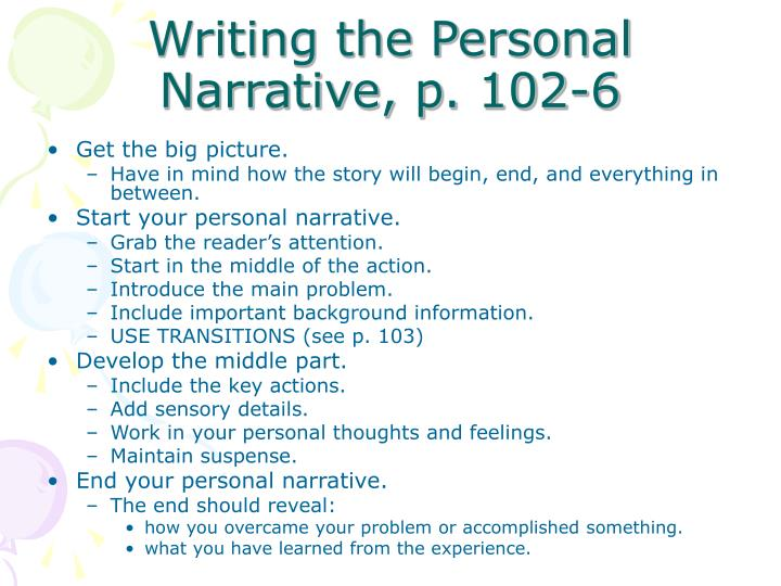 Writing the Personal Narrative, p. 102-6