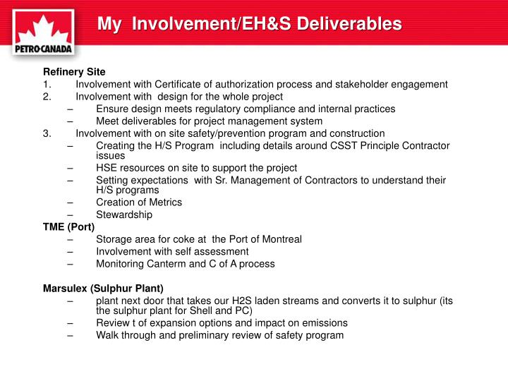My  Involvement/EH&S Deliverables