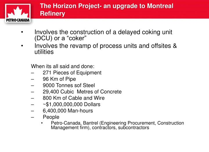 The Horizon Project- an upgrade to Montreal Refinery