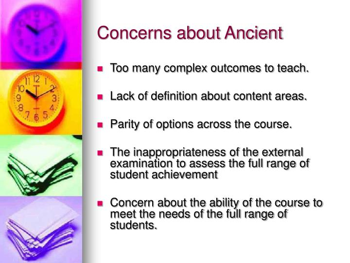 Concerns about Ancient