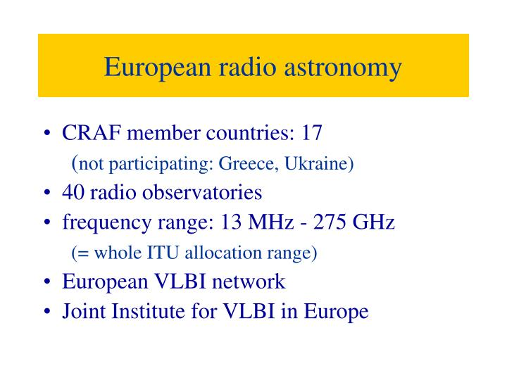 European radio astronomy
