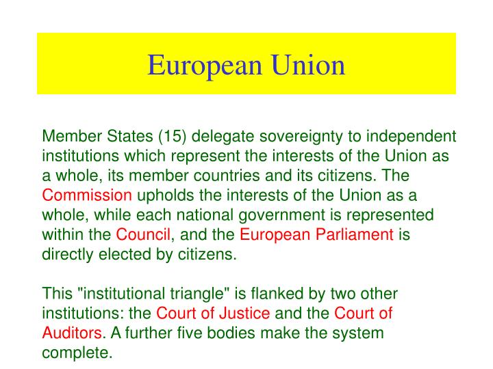 Member States (15) delegate sovereignty to independent institutions which represent the interests of the Union as a whole, its member countries and its citizens. The