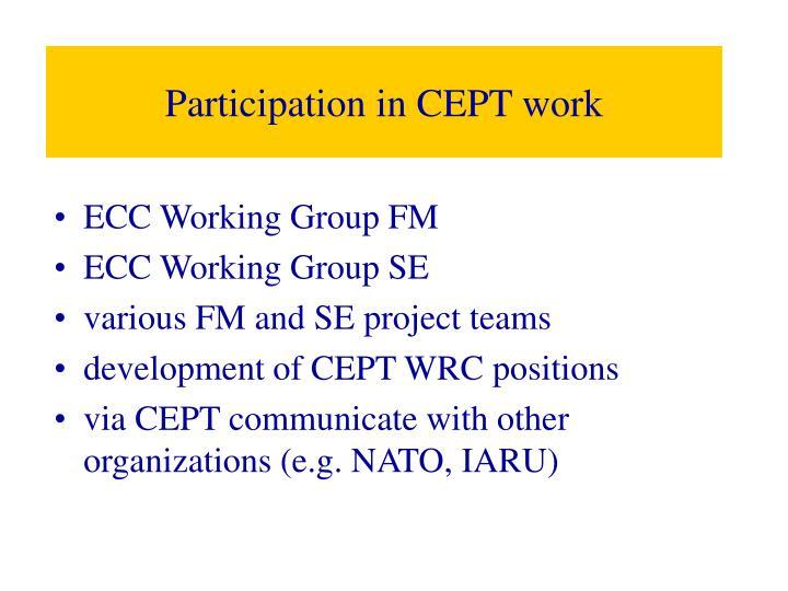 Participation in CEPT work