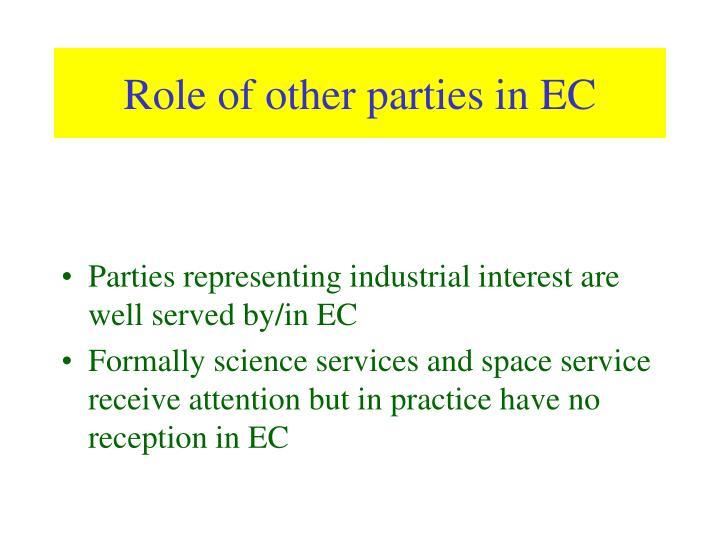 Role of other parties in EC
