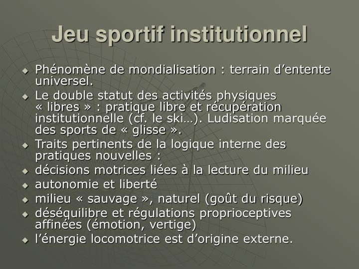 Jeu sportif institutionnel