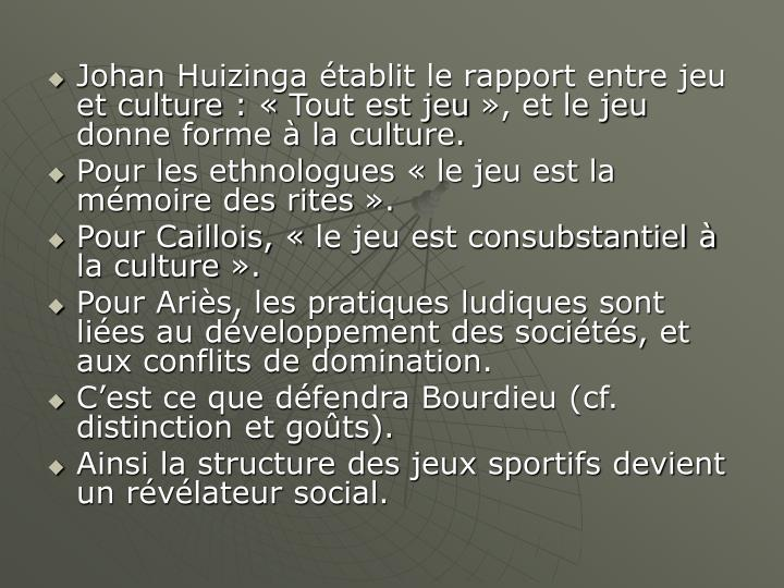 Johan Huizinga établit le rapport entre jeu et culture: «Tout est jeu», et le jeu donne forme à la culture.