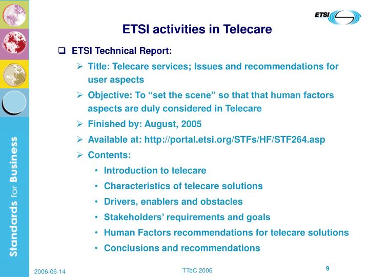 ETSI activities in Telecare