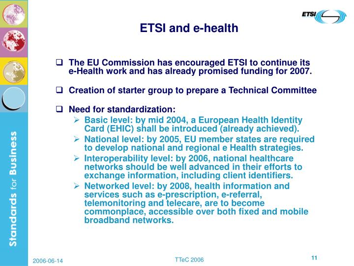 ETSI and e-health