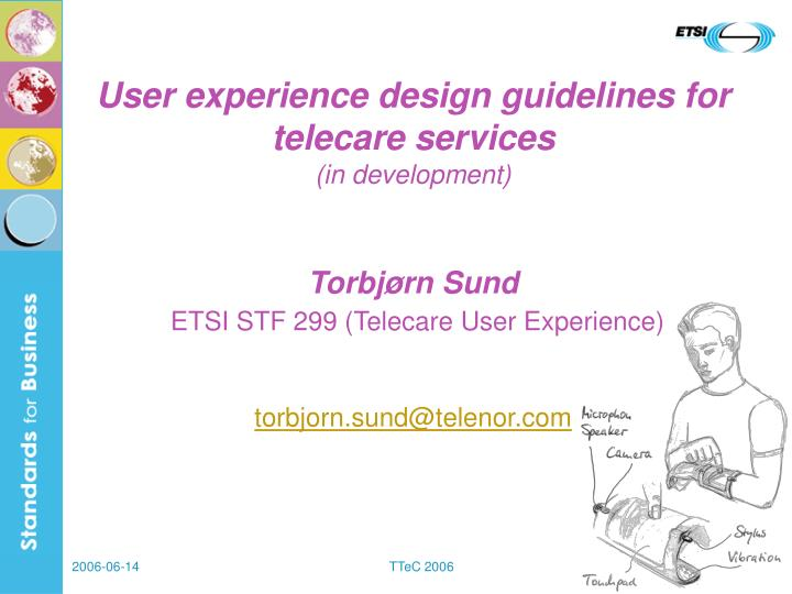 User experience design guidelines for telecare services