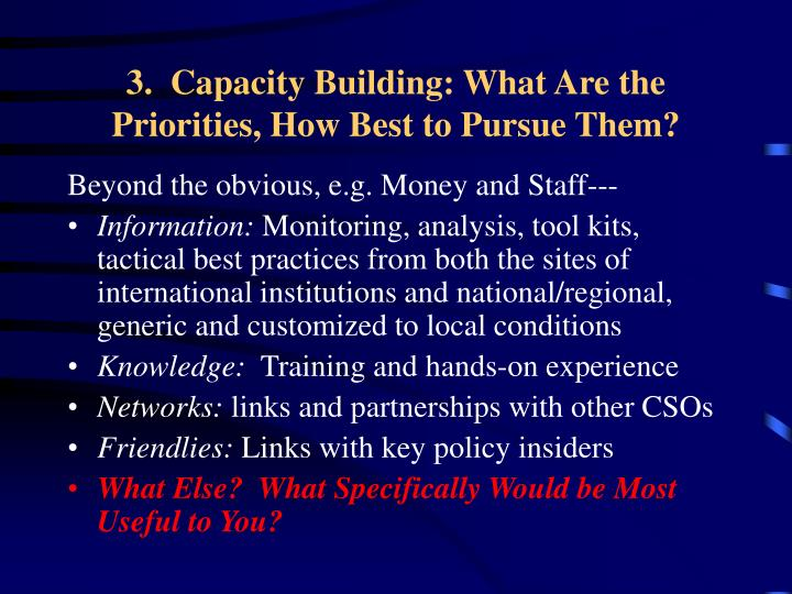 3.  Capacity Building: What Are the Priorities, How Best to Pursue Them?