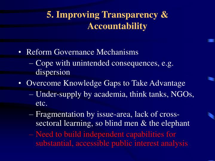 5. Improving Transparency & Accountability
