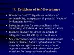 9 criticisms of self governance