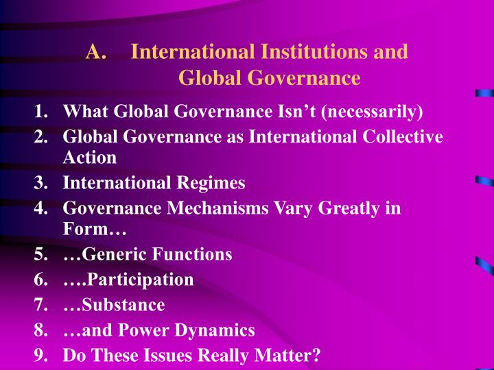 International institutions and global governance