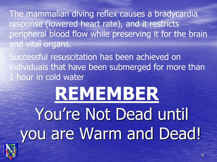 The mammalian diving reflex causes a bradycardia response (lowered heart rate), and it restricts peripheral blood flow while preserving it for the brain and vital organs.