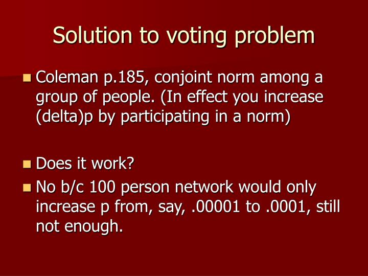 Solution to voting problem