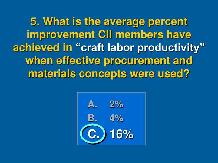 5. What is the average percent improvement CII members have achieved in