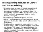 distinguishing features of craft and issues relating