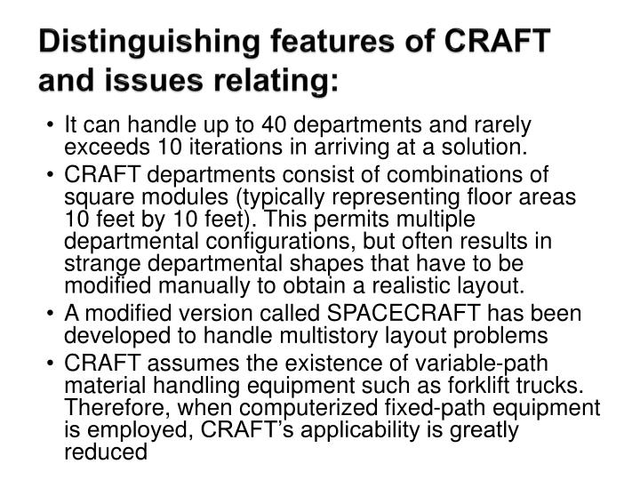 Distinguishing features of CRAFT and issues relating: