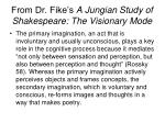 from dr fike s a jungian study of shakespeare the visionary mode