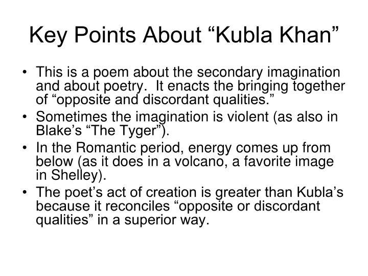 "Key Points About ""Kubla Khan"""