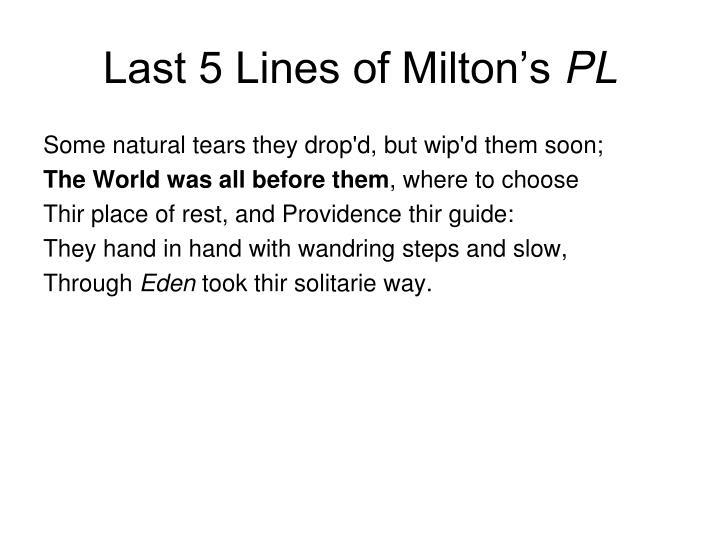Last 5 Lines of Milton's