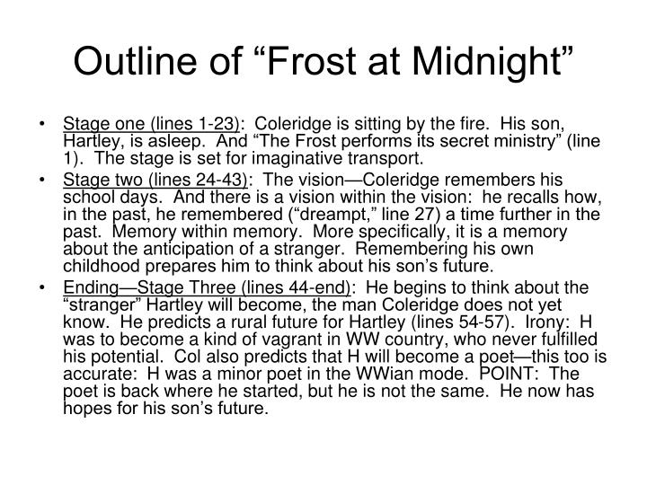 """Outline of """"Frost at Midnight"""""""