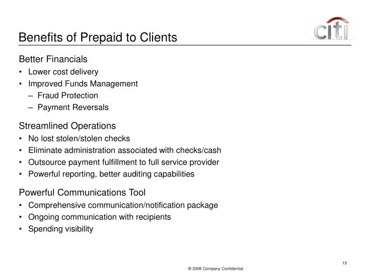 Benefits of Prepaid to Clients