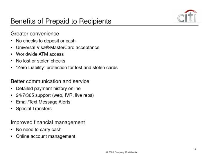 Benefits of Prepaid to Recipients