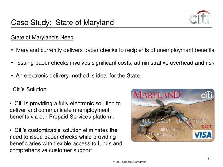 Case Study:  State of Maryland