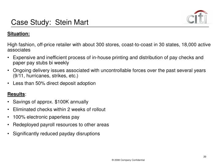 Case Study:  Stein Mart