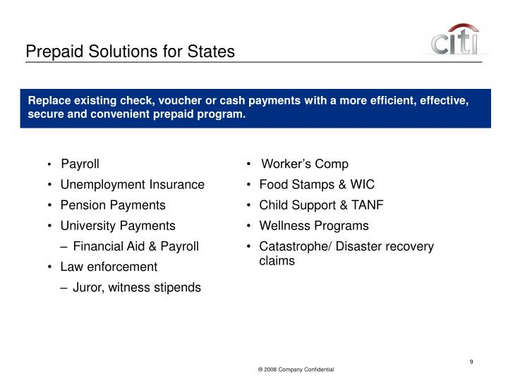 Prepaid Solutions for States