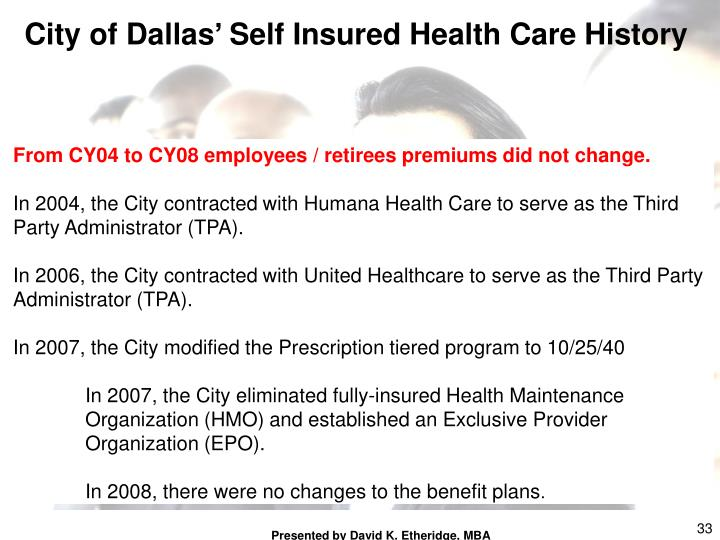 City of Dallas' Self Insured Health Care History