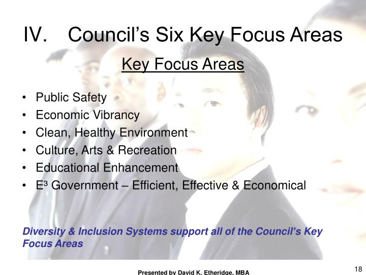 Council's Six Key Focus Areas