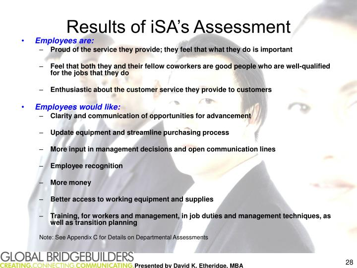 Results of iSA's Assessment