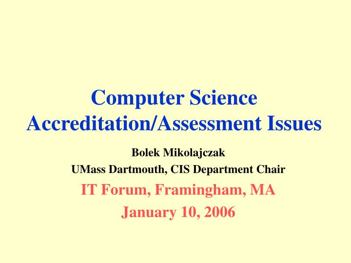 computer science accreditation assessment issues