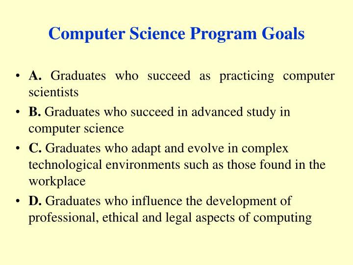 Computer science program goals