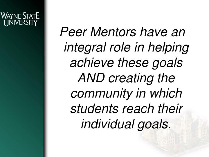 Peer Mentors have an integral role in helping achieve these goals AND creating the community in which students reach their individual goals.