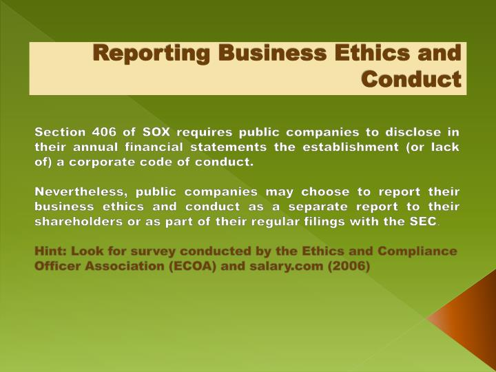 Reporting Business Ethics and Conduct