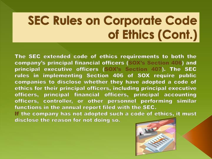 SEC Rules on Corporate Code of Ethics (Cont.)