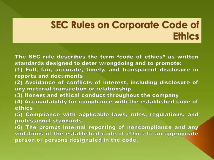 SEC Rules on Corporate Code of Ethics