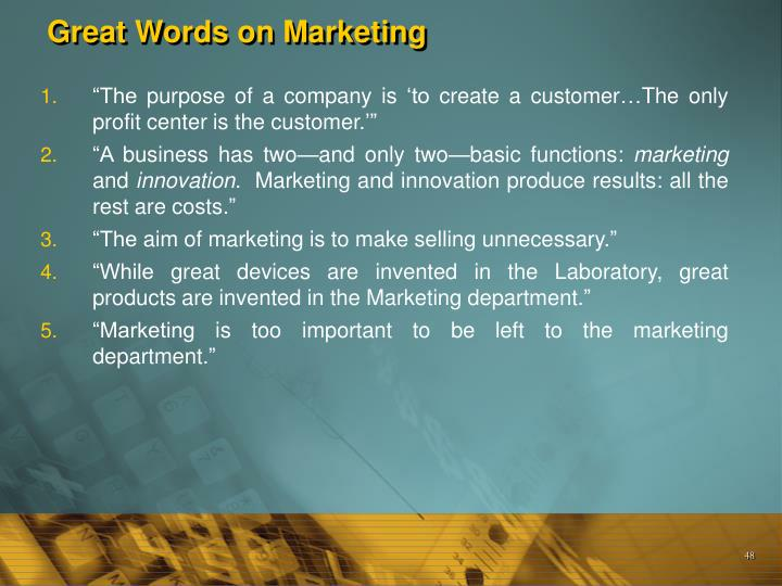 Great Words on Marketing
